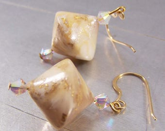 Gold and White Polymer Clay Earrings 14k Gold Filled