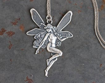 Fairy Necklace - Sterling Silver Winged Forest Creature