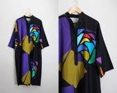 70s Catherine Ogust Colorblock Dress / Kimono Dress / Penthouse Gallery / Caftan / Geometric Pattern Tunic Dress / Size S/M