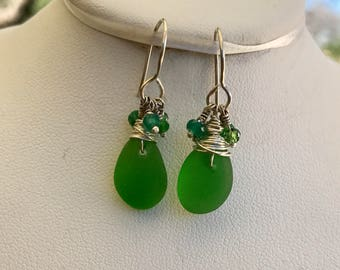 Bright green sea glass earrings, green beach glass earrings, st patricks day earrings,