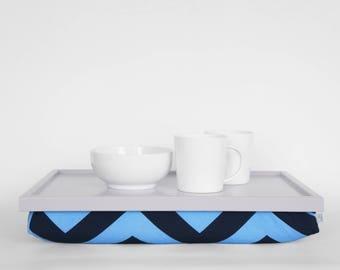 Chevron print tea serving tray with pillow, Laptop stand, serving Tray - light grey tray, blue chevron print pillow