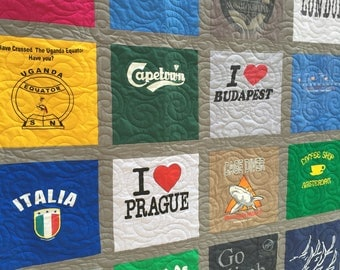 Traditional T Shirt Quilts - 36 Shirt T-Shirt Quilt - King T Shirt Quilt - FREE SHIPPING- Upcycled Tee Shirt Quilts