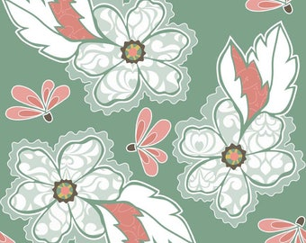 15 x 41 LAMINATED cotton fabric remnant (similar to oilcloth) - Valencia floral main by Lila Tueller yardage - approved for children