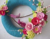 Teal Yarn Wreath with Two Glitter Pink Birds - 12""