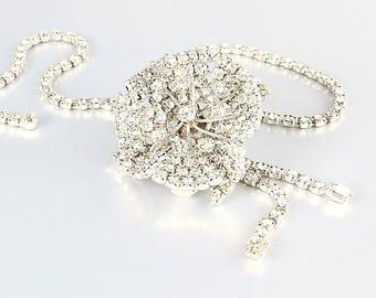 Flower Rhinestone Necklace. Camelia Bolo Necklace.  1960s Vintage Wedding jewelry