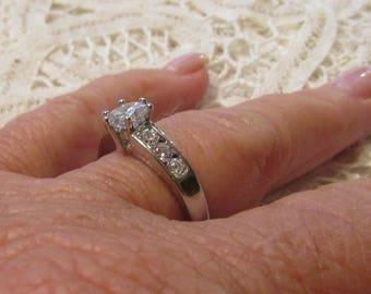 14k White Sapphire 1ct  Engagement Ring