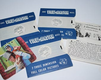 Vintage 1950's Sawyer's A Christmas Carol Complete 3 Reel View Master Set with Original Story Booklet - Children's Story