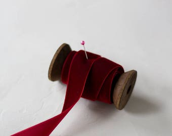 """Burgundy Red Velvet Ribbon (with Wooden Spool) - 5 yards - 3/4"""" wide"""