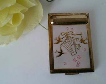 Vintage Pink Champleve Enamelled Ladies Compact/Lip Stick by Richard Hudnut