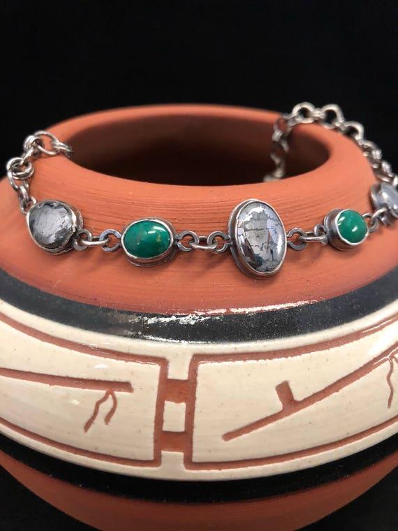 Handmade Jewelry, Mohave Green Turquoise, Native Silver, Bracelet, Southwestern Jewelry, Southwestern Bracelet