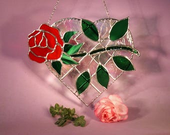 Stained Glass Suncatcher Heart with Rose   (810)