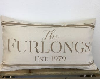 Family Established Pillow - Farmhouse Style with Vintage Inspired Feedsack Design in Custom Colors