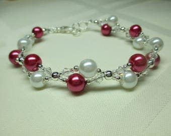 Two Strand Deep Pink and White Pearl Bracelet