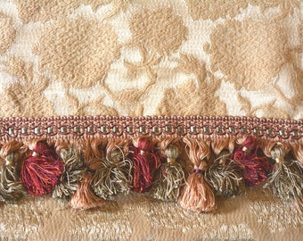 Satin Brocade Curtains, Gold with Vintage Trim, Pair