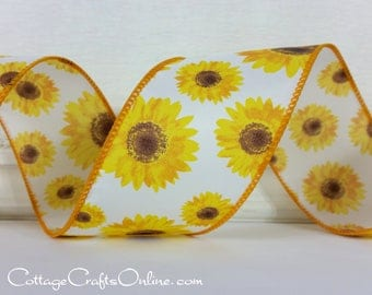 "Wired Ribbon, 2 1/2"",  Yellow, Gold and Brown Sunflower Print  - TEN YARD ROLL - ""Sunflower""  Spring, Flower Wire Edged Ribbon"