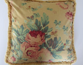 Ralph Lauren Elsa Grasslands Decorator Throw Pillow with Filler Pink Cabbage Roses on Tan Country Cottage Shabby Chic Toss Cushion