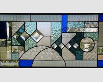 Blue aqua abstract stained glass panel window geometric stained glass window panel window hanging 0262 22 1/2 x 11 1/2