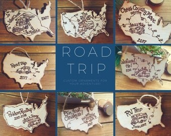 Road Trip Ornament to celebrate your travels! Vacation Family fun Personalized USA shape Holidays Christmas Traveling Journey