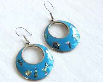 Mexican Turquoise Dangle Earrings Alpaca Abalone Dangles Vintage Gift for Her Under 20
