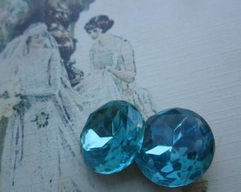 Czech Vintage 18mm Aqua Glass Gems Doublet Gems 2Pcs.