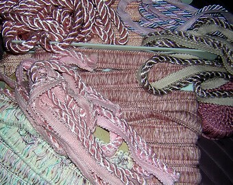 Large  box various pink & peach brush fringe trim , robe trom , flange trim and more- over 5#s