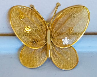 Vintage 1970s Gold Filigree Butterfly Pin/Brooch