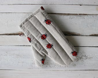 Kitchen gloves with Ladybugs Linen Glove Christmas gift for the cook him and her
