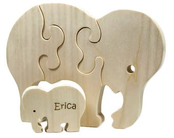 Wooden Puzzle, Wooden Elephant Toy, Elephant Puzzle, Elephant Toy, Personalized Toy, Personalized Puzzle, Toy Puzzle for Toddlers