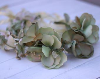 Sage Green  tie back floral crown,full floral wreath, Sage Floral wreath