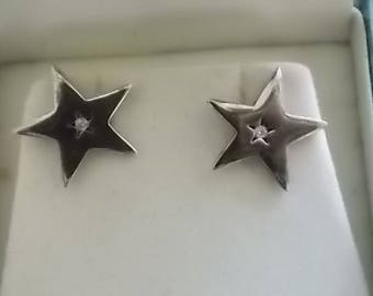 Kit Heath Silver Stars Stones Earrings Designer  PRETTY