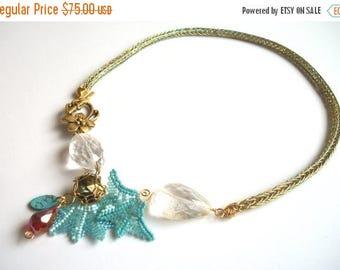 MEGA CLEARANCE Personalizeable Necklace - Asymmetrical Viking Knit, Beadwoven, Citrine Gemstone , Turquoise Blue, Red & Swarovski Crystal