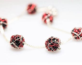 Ball bracelet, red black, silver chain bracelet, delicate, wire geometric jewelry, Christmas, unique birthday gift women, modern minimalist