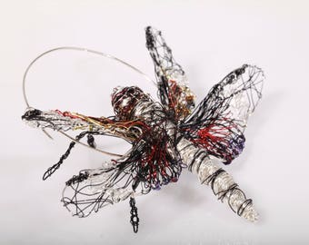 Dragonfly jewelry - wire sculpture -  animal - insect art - dragonfly brooch - nature jewellery - contemporary  -insect jewelry -mothers day