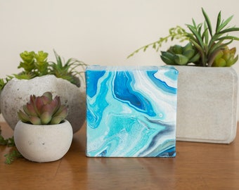 Mini Blue Agate Abstract Fluid Painting, Blue Acrylic Painting, Modern Art, 4x4 painting, Blue Wall Decor, Small Original Painting