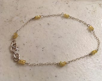 Yellow Bracelet - Sterling Silver Chain Jewelry - Yellow Sapphire Gemstone Jewellery - Dainty - Delicate