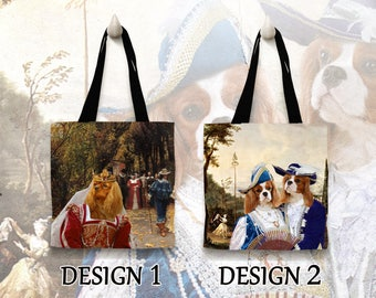 Cavalier King Charles Spaniel Dog Tote Bag Art Custom Dog Portrait Personalized Dog Tote Bag Perfect DOG LOVER Gift for Her Gift for Him