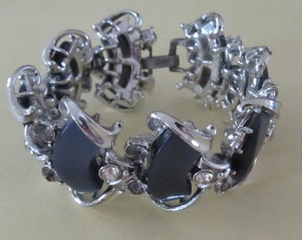 Vintage Coro Charcoal Grey Thermoset and Rhinestone Silver Tone Bracelet
