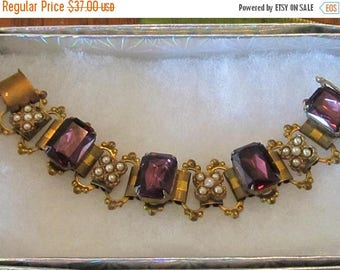 Vintage ~Antique Bookchain Bracelet with Amethyst and Pearls