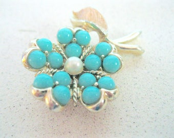 Vintage Turquoise Flower Brooch Gold Sarah Coventry Pearl Beads Scarf Pin Accessory Costume Jewelry something blue for her under 25 dollars