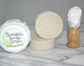 103 ALOE CHAMOMILE Vegan Italian Style Shaving Cream Soap- Kokum Butter, Babassu- UNSCENTED