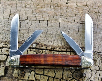 Pocket Knife with Wood Handle - Curly Koa -  Wooden Handle - Wood Pocket Knife - Folder Knife - 4 Blades