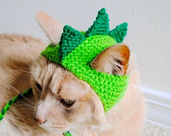 Dinosaur Cat Hat - Green and Lime - Hand Knit Cat Hat - Cat Halloween Costume (READY TO SHIP)