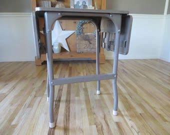 Vintage Brown Metal Typewriter Task Table Extendable Leaves Side Table End Table Industrial Metal Table