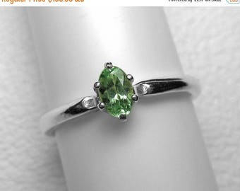 Mozambique Tourmaline Ring in Silver, 5 x 3 mm