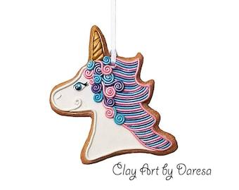 Unicorn cookie ornament keepsake