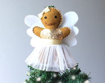 Gingerbread Angel Tree Topper - Christmas Tree Topper - Gingerbread Angel Ornament - Christmas Angel - Tree Topper - Fairy Tree Topper