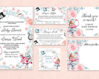 Alice in Wonderland Baby Shower Invitation-Tea Party-  Kit,Suite-Alice thank you card-diaper raffle card advice card bring a book-printable