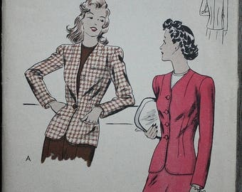 25%off Sizzlin Summer Sal Vogue 9512 1940s 40s Fitted Collarless Jacket Vintage Sewing Pattern Size 14 Bust 32