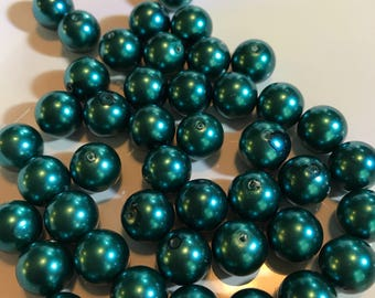 8mm Teal glass pearls