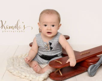 Boy Sitter Romper, Gray 6 Month Old Photo Prop Outfit, MADE TO ORDER